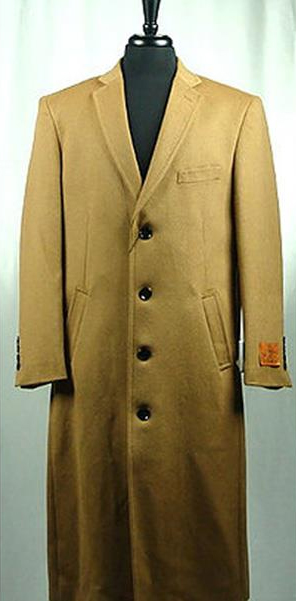 Mens Wool Blend Camel 4 Button Bravo Top Overcoat