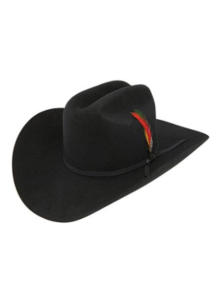 Stetson Hats_ 4x Tejana Rancher Classic Felt Cowboy Hat w-Feather
