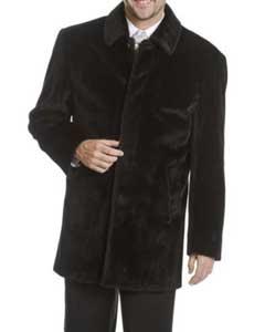 mens blu martini single breasted car coat 5 button faux fur coat black and beige
