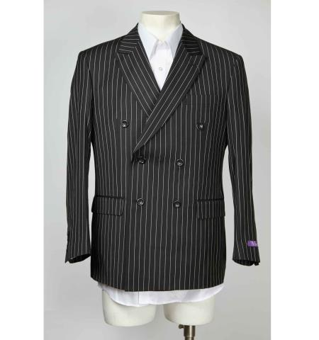 Mens Sport Coat 6 Button Pinstripe Double Breasted Peak L