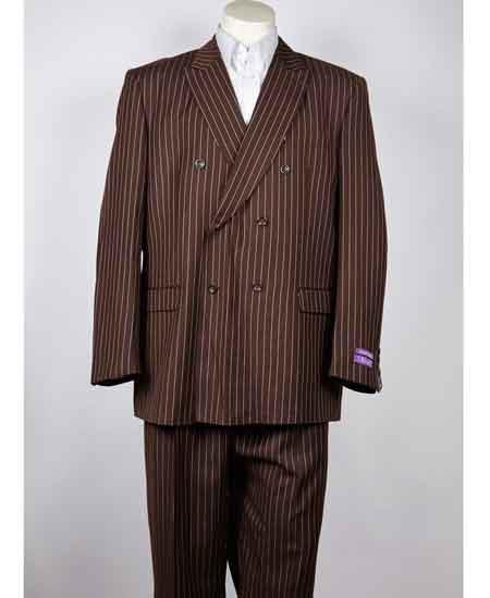 1920s Mens Suits | Gatsby, Gangster, Peaky Blinders Mens Classic Fit Double Breasted Pinstripe 6 Button Peak Lapel Brown Suit $149.00 AT vintagedancer.com