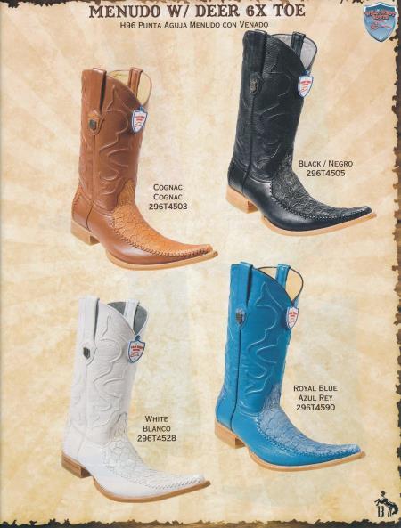 SKU#5D2S 6X-Toe Menudo W/ Deer Mens Cowboy Boots Diff. Colors/Sizes
