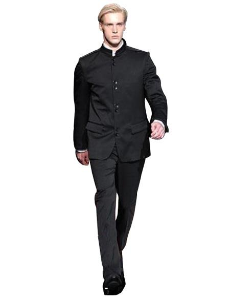 Super High Quality Exclusive Style and Cut 8 Button Black Mandarin Banded Collar Suits