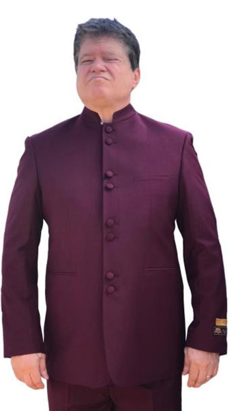 Alberto Nardoni Mandarin Banded No Collar Suit Burgundy ~ Wine ~ Maroon Suit