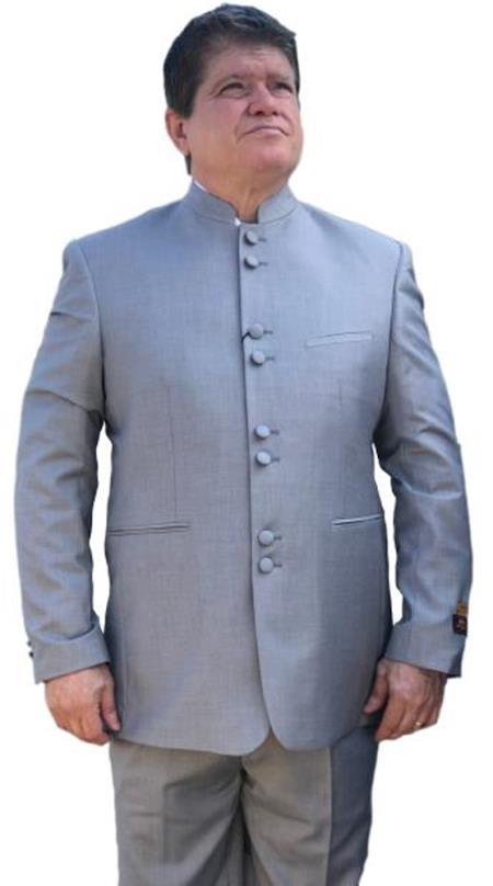 Alberto Nardoni Light Grey ~ Gray Mandarin Banded No Collar Suit