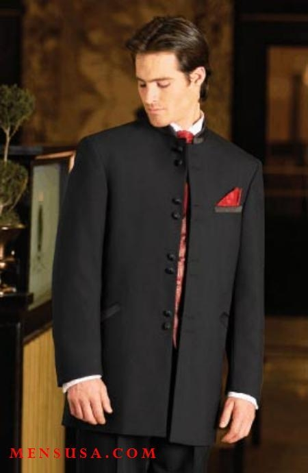 SKU# WI-09 Mens 8-Buttons~ Black Mandarin Tuxedo Single Breasted Suit $149