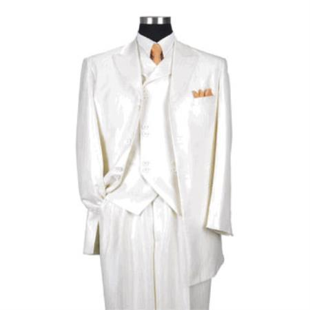 Creme Vested Mens 8 button Single Breasted Suit Jacket