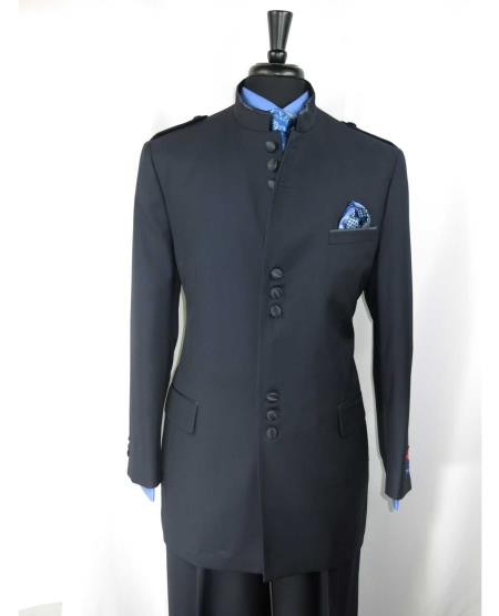 Single Breasted Mens Mandarin Banded Collar With 9 Button Closure Suit Dark Navy Blue Suit For Men