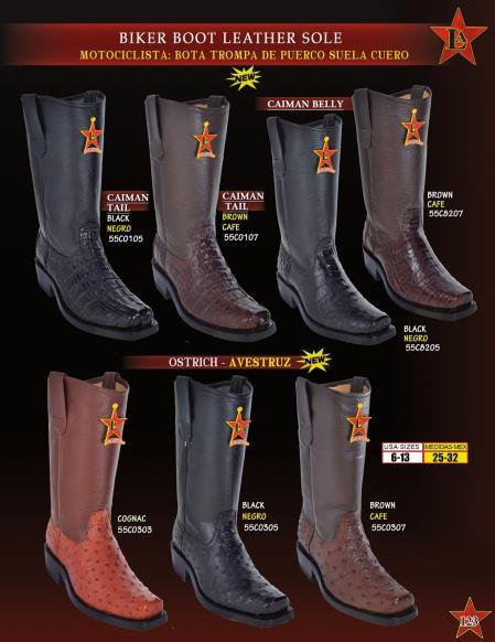Los Altos Mens Genuine caiman ~ World Best Alligator ~ Gator Skin/Ostrich Leather Sole Biker Cowboy Western Boots