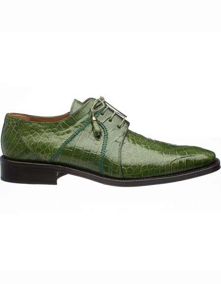 Ferrini Mens Genuine World Best Alligator ~ Gator Skin Tasseled Laces Olive Green Derby Leather Shoes