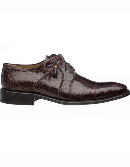 Ferrini Men's Tasseled Laces Genuine World Best Alligator ~ Gator Skin Derby Leather Shoes Chocolate