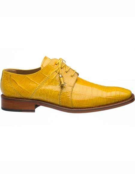 Ferrini Mens Genuine World Best Alligator ~ Gator Skin Leather Sole Yellow ~ Gold ~ Mustard Tasseled Laces Derby Shoes