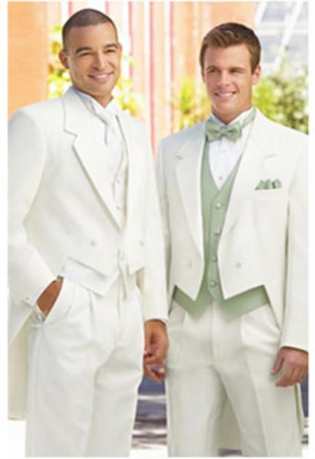 Ivory ~ cream ~ off white tailcoat tuxedo for men + Any Color Vest Tuxedo Jacket with the tail suit tuxedo with tails