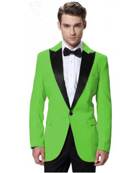 Nardoni Lime Green Tuxedos Apple Green Jacket With Black Pant One Button Elegant