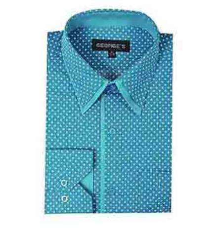 Mini Polka Dot Design Aqua ~ Turquoise Color Classic Fit Men's Dress Shirt