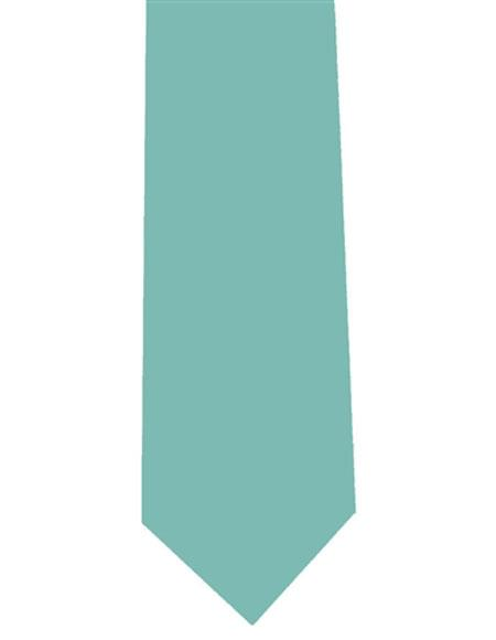 Mens Solid Extra Long Aqua ~ Turquoise Color Polyester Neck Tie