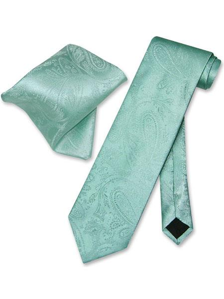 Mens Aqua Green ~ Turquoise Color Trendy Paisley Pattern Neck Ties With Hanky