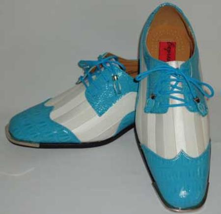 Cool Aqua Turquoise Teal Silver Tip Dress Shoes With White Striped Sat