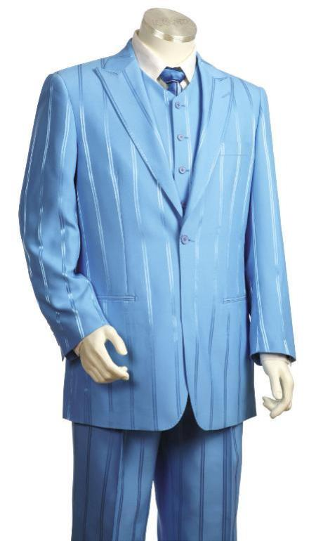 Mens Reflective Stripe Besom Pocket Single Breasted Baby Blue Zoot Suit