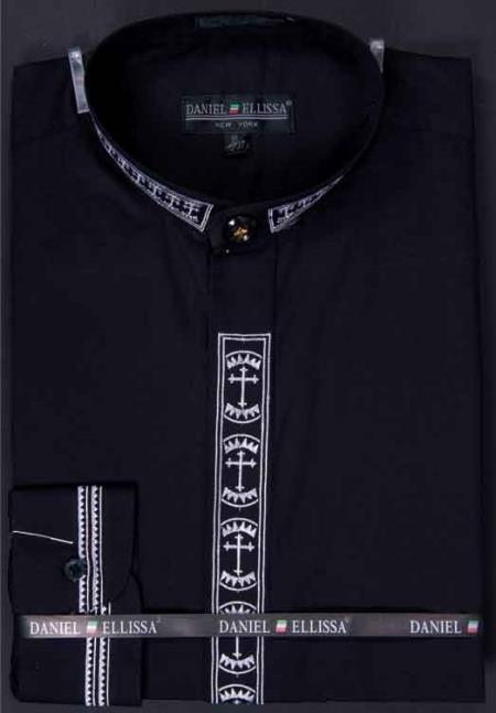 collarless Banded Collar With Cross Embroidery Black Mens Dress Shirt