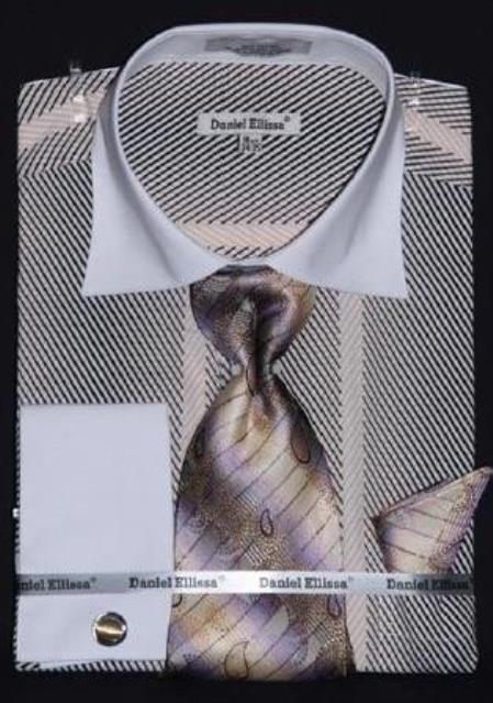 Buy AC-432 Two Tone Stripes Design Dress Fashion Shirt/ Tie / Hanky Set White Collar Two Toned Contrast Free Cufflinks tan ~ beige