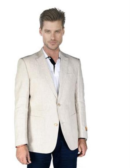Mens Sand ~ Natural ~ Beige ~ Khaki ~ Tan Linen Blazer Sp