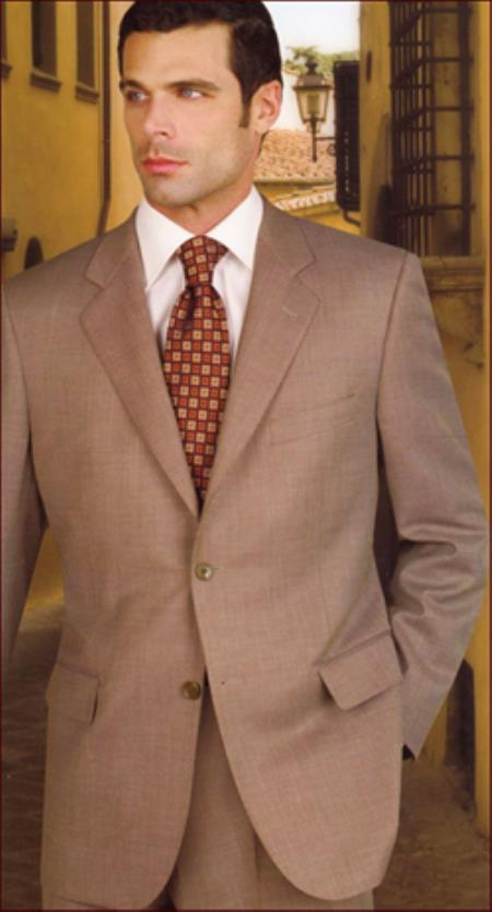 Authentic Real With Tags Mantoni Cheap Priced Business Suits Clearance Sale 2 Pleats Tan ~ Beige