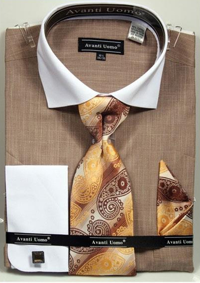 Mens Beige Textured Pattern French Cuff 100% Cotton Fashion Shirt with Tie & Hanky Set
