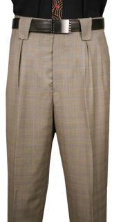 Men's Classic Fit Pleated Front Wool Wide Leg Dress Pants Beige Plaid Men's Wide Leg Trousers
