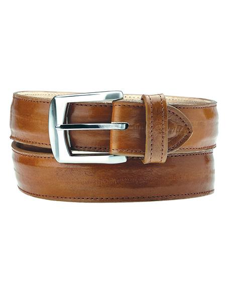 Men's Authentic Genuine Skin Italian Stella All-Over Genuine Eel Antique Camel Belt