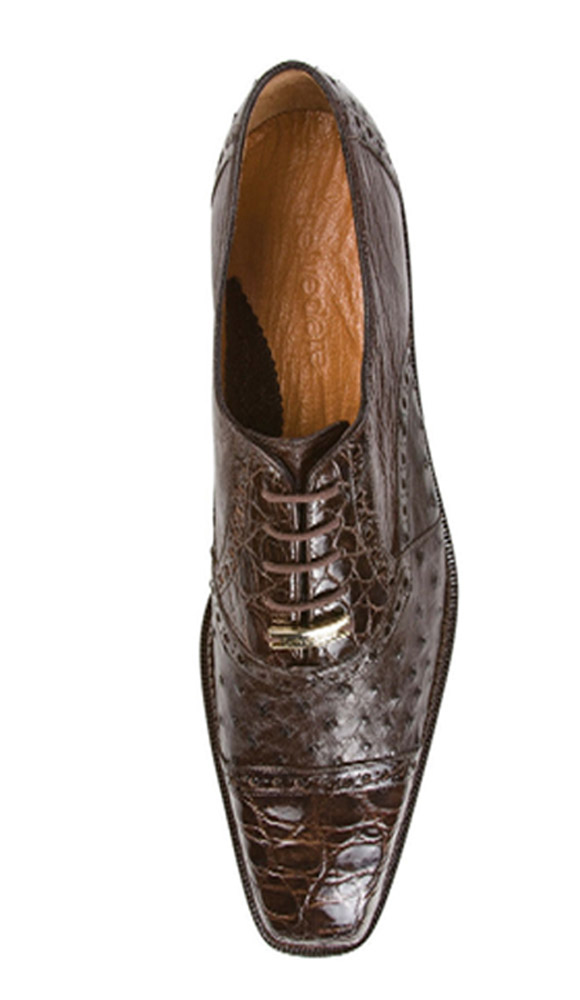 Authentic Genuine Skin Italian Cap toe Lace UP Oxford Style II Brown Genuine Ostrich / Crocodile ~ World Best Alligator ~ Gator Skin Shoes