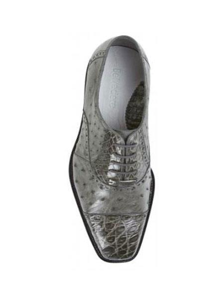 Authentic Genuine Skin Italian Cap toe Lace UP Oxford Style II Grey Genuine Ostrich / Crocodile ~ World Best Alligator ~ Gator Skin Shoes