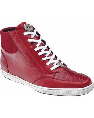 Authentic Genuine Skin Italian Franco Red Genuine Crocodile ~ World Best Alligator ~ Gator Skin / Soft Calf Leather Dress Sneaker