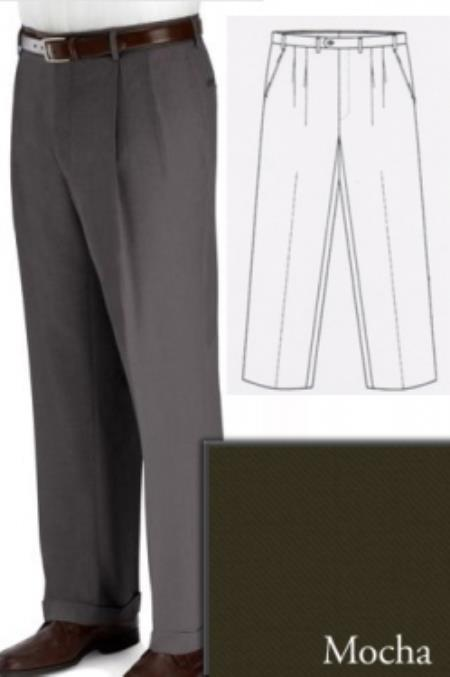 Big and Tall Dress Pants Slacks For Men Mocha  unhemmed unfinished bottom