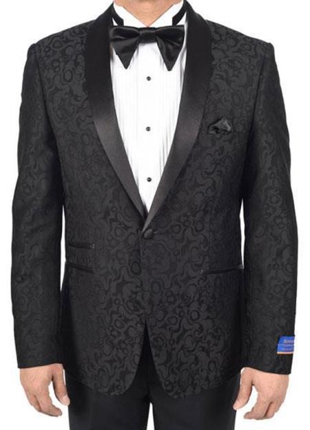 Men's Super 150's Viscose Blend 1 Button Black Tuxedo Modern Geometric Pattern Satin Shawl Lapel Dinner Jacket