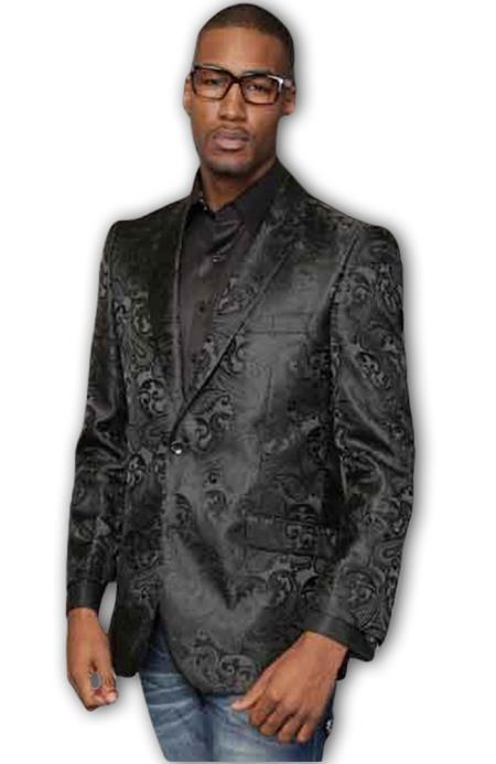 Men's Shiny Paisley Black 2 Button Side Vents Entertainer Jacket