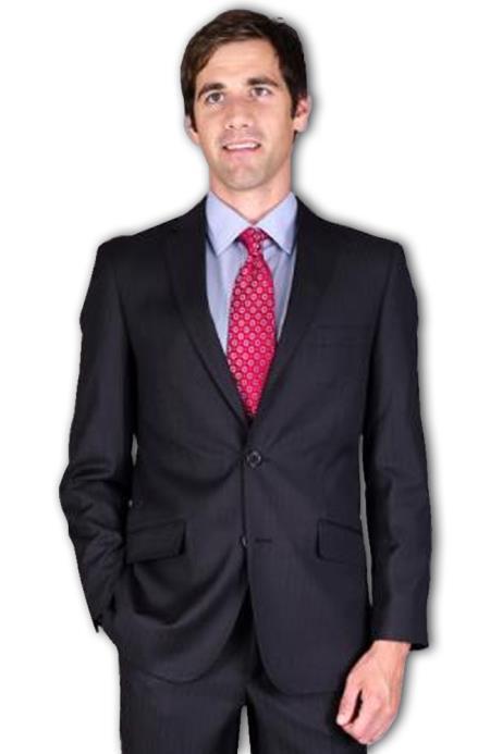 Mens Slim Fit Black Tonal 2-Button Suit