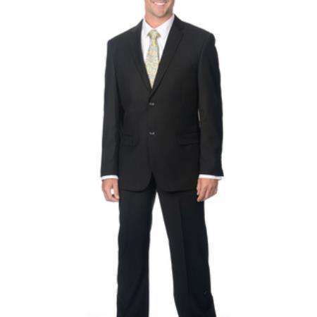Slim Fit Suit Men's Notch collar Black 2-Button Priced Business Suits