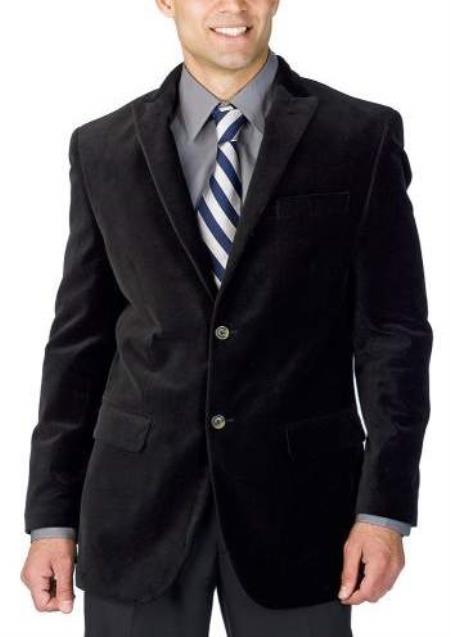 Mens Black Corduroy Suit 2 Button Style + Jacket Sport coat + Pants