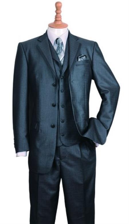 Men's Black Three Buttons Style suit Fashion Cheap Priced Business Suits Clearance Sale Edged Jacket w/ Pants Vest Set
