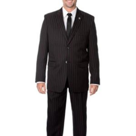 Men's Black with Red Stripe ~ Pinstripe 3-piece Vested Suit