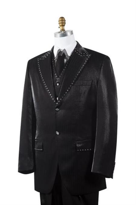 Mens Black Sharkskin Rhinestone 3 Piece Entertainer Suit