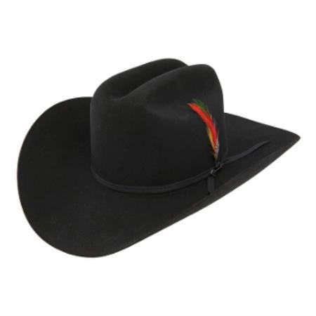 Stetson Hats_ 4x Rancher Tejana Classic Felt Cowboy Hat w-Feather Black Felt