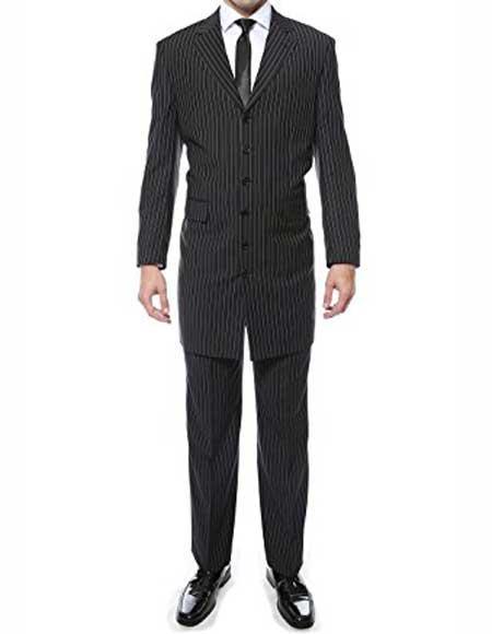 Mens Notch Lapel 6 Button Closure Black Regular Fit Pin Stripe 2 Piece Zoot Suit