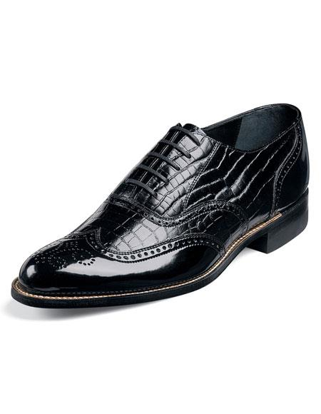 Buy CH283 Stacy Adams Men's Black Wingtip ~ Wing tip Brogue Alligator Print Leather Upper Classic Shoes