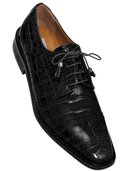 Ferrini Black Mens Full Cap Gator Skin Leather Lace Up World Best Alligator ~ Gator Skin Shoes