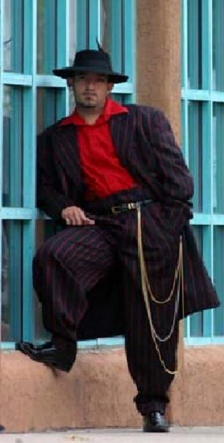 SKU# JDI494 Bold Gangester Mens Black and Red Pinstripe Fashion Zoot Suit