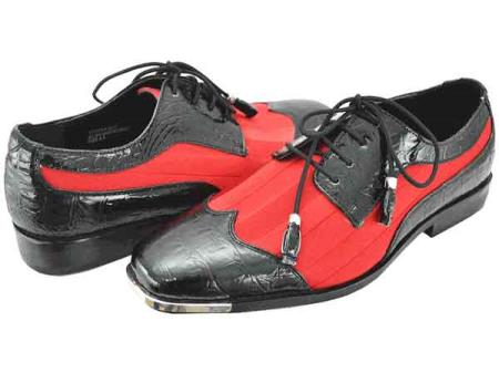 Buy SM789 Men's Black Red Two Tone Dress Shoes Satin WingTip Lace