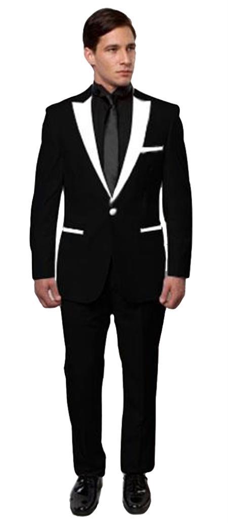 Mens Black And White Lapel Tuxedo Two Toned Velvet Fabric