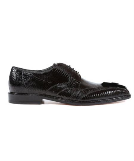Buy SS-9654 Mens Topo Lizard Caiman Alligator Black Oxfords Belvedere Shoes